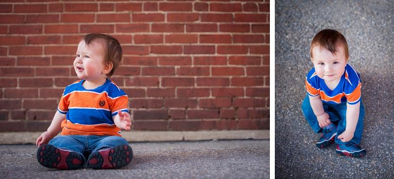 Adorable boy wearing stripes