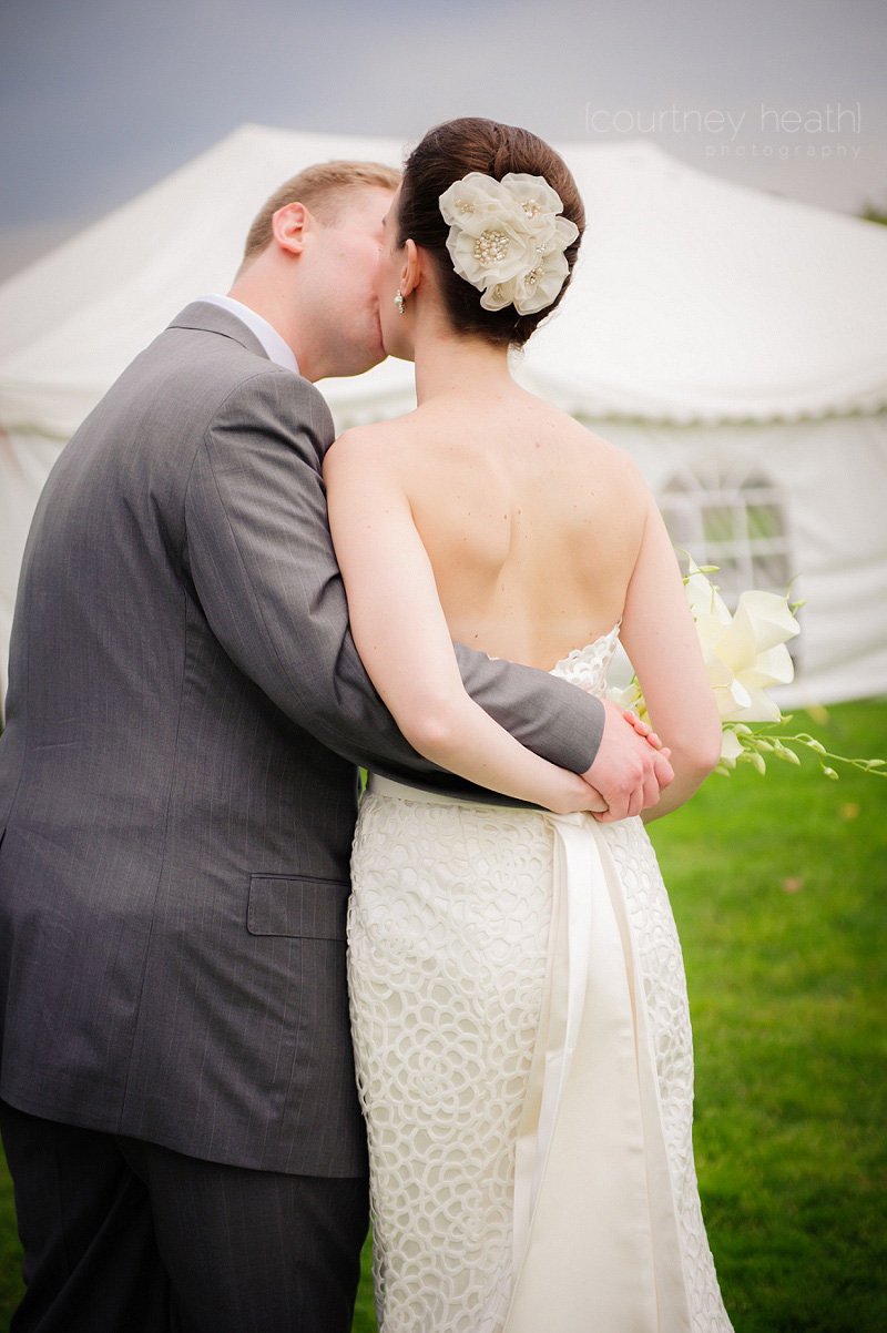 Groom and bride share a moment alone