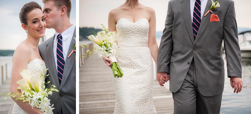 Bride and groom hold hands walking on docks at Lake Winnipesaukee
