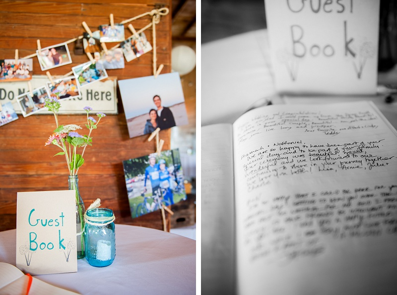 Rustic wedding guestbook at Wells Reserve