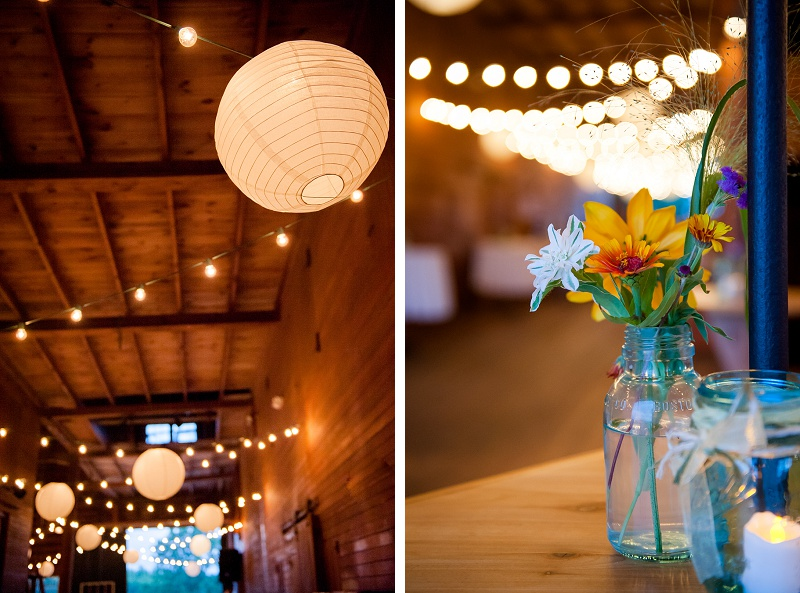 Paper lanterns inside barn at Wells Reserve Wedding