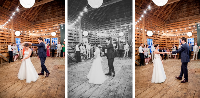 Bride and groom first dance inside barn at Wells Reserve