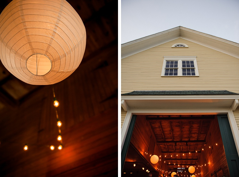 paper lanterns hanging in barn at Wells Reserve wedding