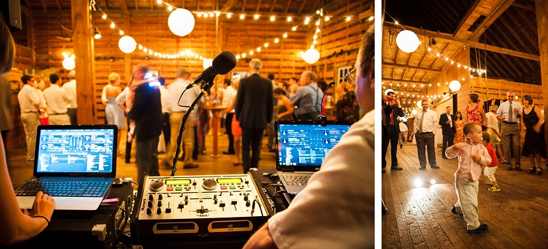 Wedding dj in barn at Wells Reserve