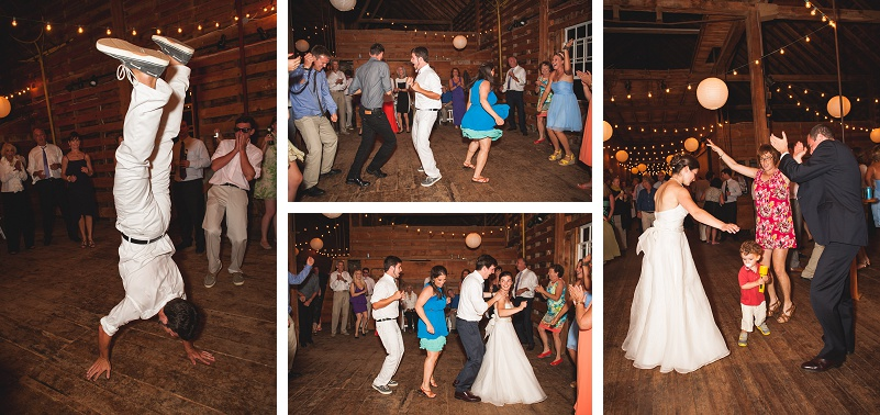 Wedding reception dancing in barn at Wells Reserve