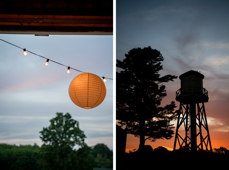 Sunset behind water tower wedding Wells Reserve