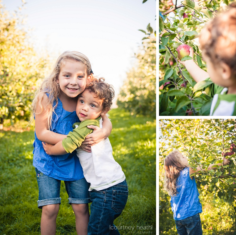 Brother and sister at apple orchard