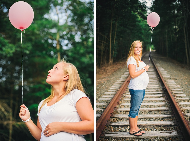 Pregnant mother holding pink balloon