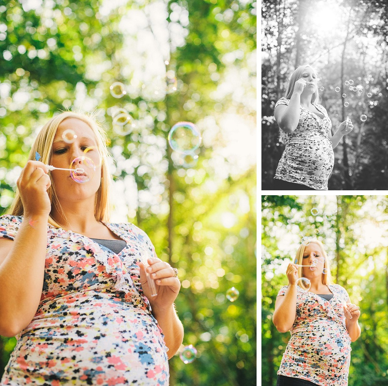 Pregnant mother playing with bubbles