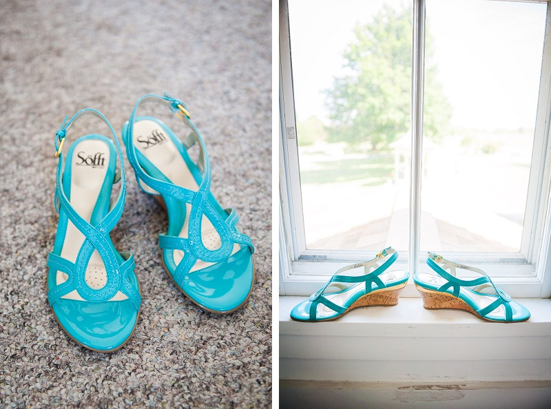 Bright aqua teal wedding shoes