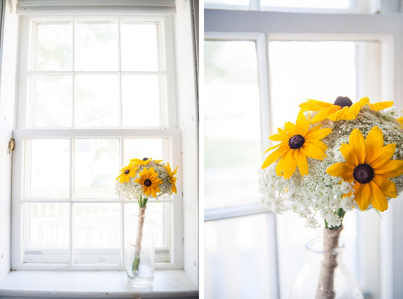 Bridal bouquet of black eyed susans sitting in window at Wells Reserve