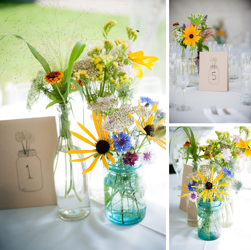 Beautiful colorful floral wedding centerpieces at Wells Reserve