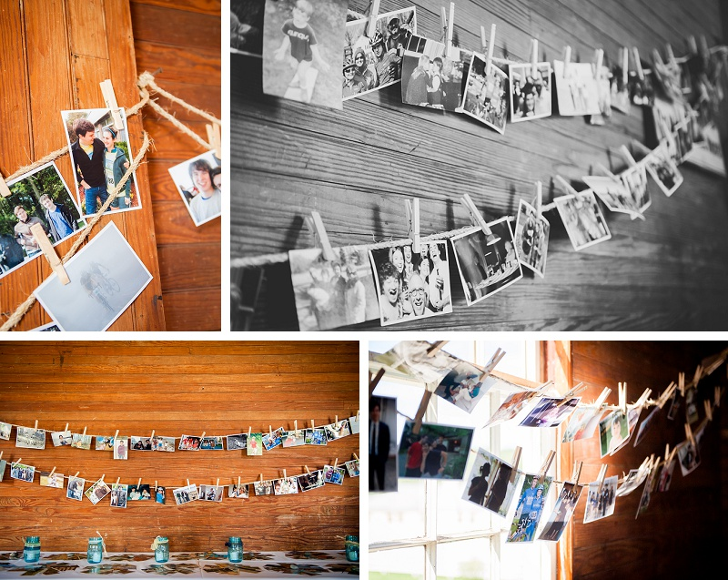 Photos on a clothesline of bride and groom family inside barn at Wells Reserve