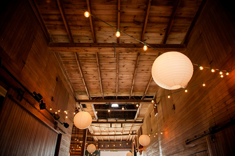 Wells Reserve barn with paper lanterns for wedding reception