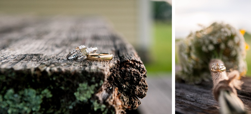 Rustic wedding ring shot on picnic table at Wells Reserve