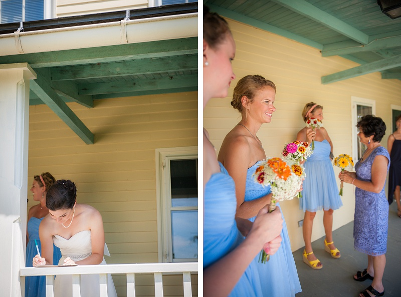 Bridal party getting ready on the Farm House porch at Wells Reserve