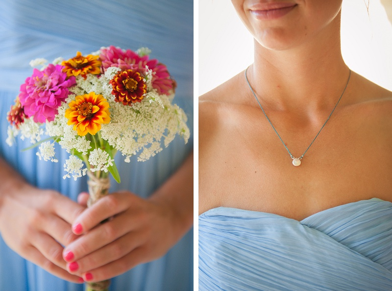 Maid of Honor holding bouquet and close up of her necklace