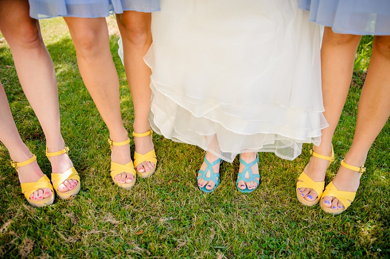 Bride and bridesmaids shoes yellow and aqua