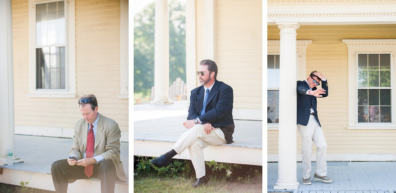 Three men before wedding ceremony on the farm house porch at Wells Reserve