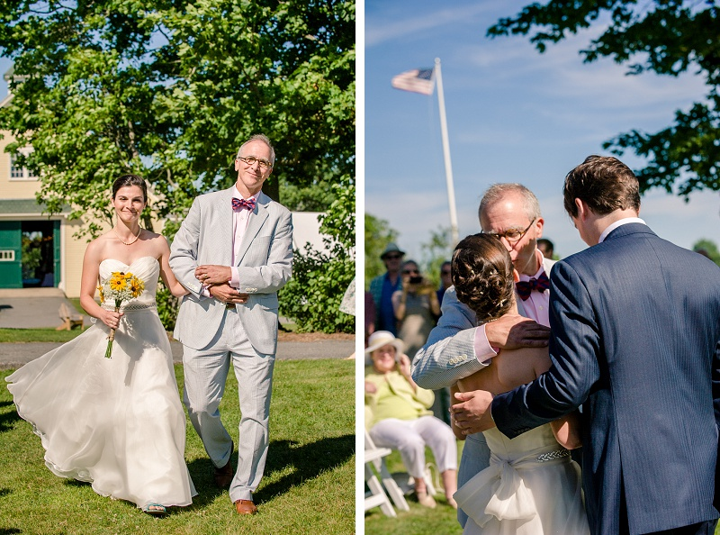 Bride and father walk down the aisle at Wells Reserve