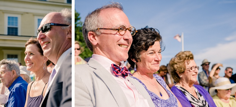 Groom's parents and bride's parents smiling during wedding ceremony at Wells Reserve