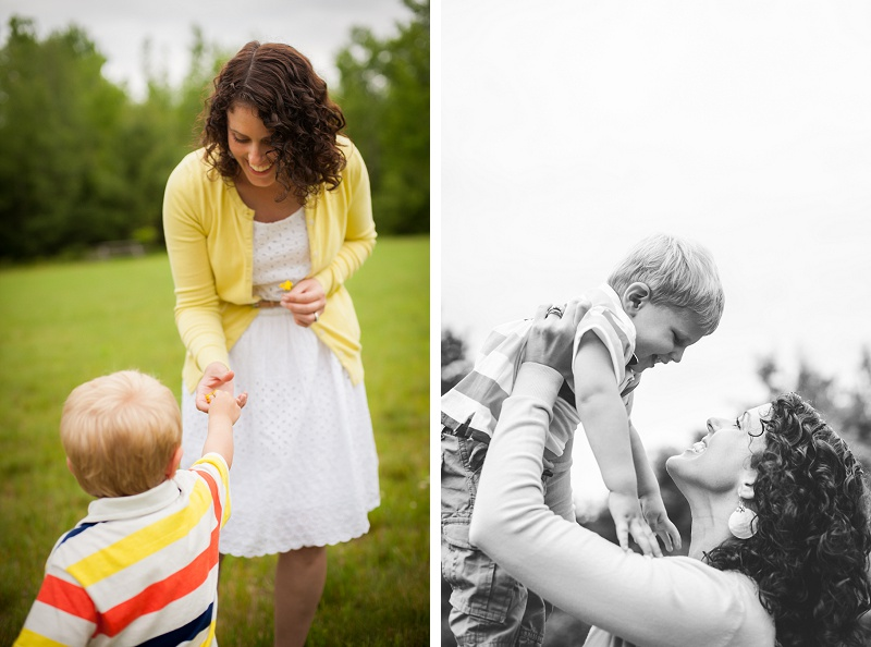 Young boy gives his mother a dandelion