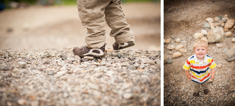 Young boy's shoes in the dirt