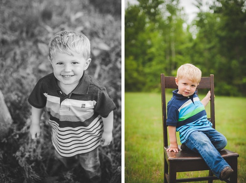 Adorable young boy smiling and sitting in a chair