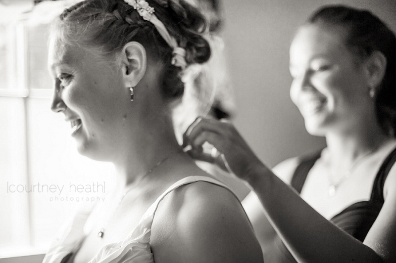 Bride Smiling Maid of Honor Putting on Necklace Black and White