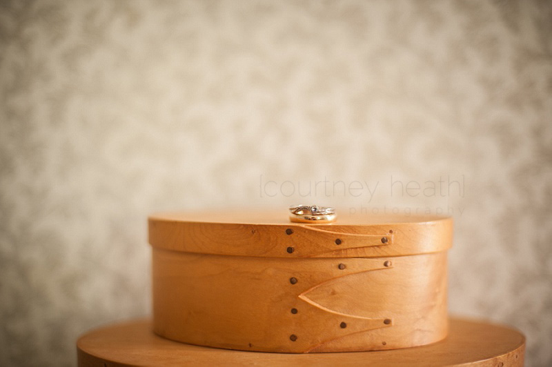 Wedding rings on shaker box