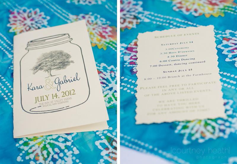 Wedding Program Mason Jar New Hampshire