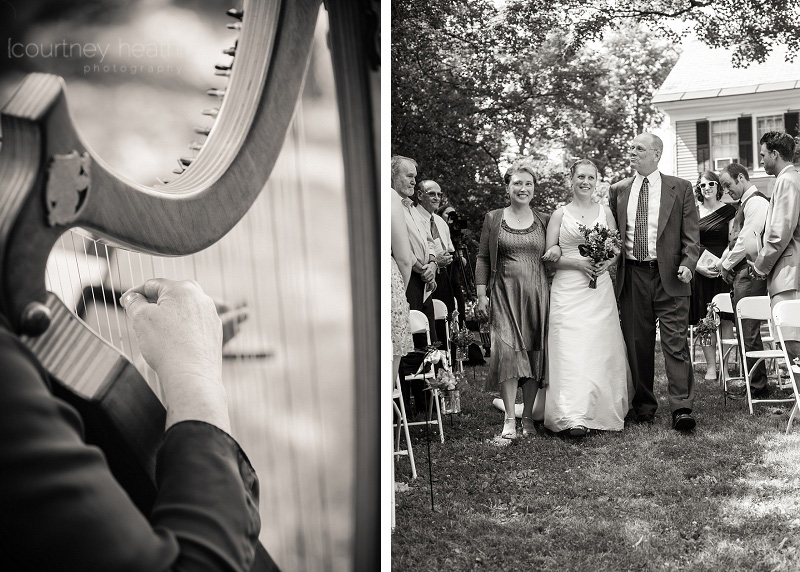 Bride walking down the aisle with parents while a harp plays
