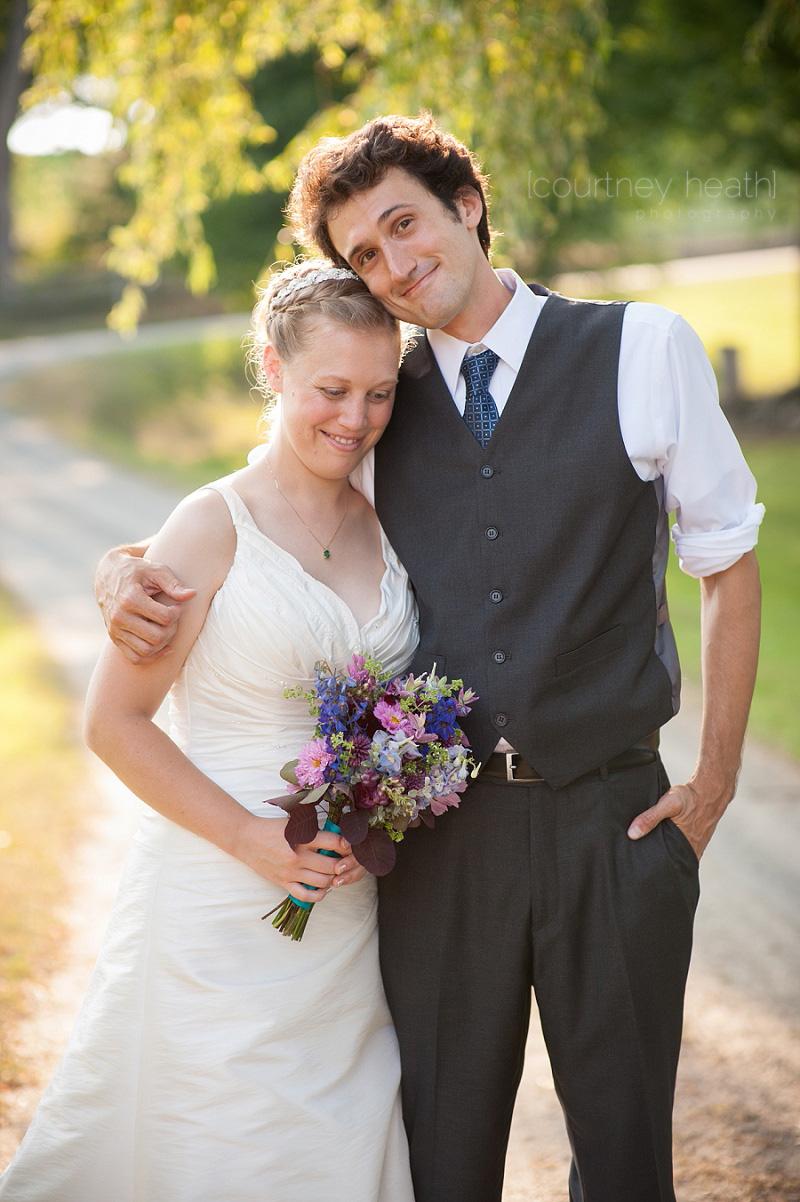 Groom and bride at Inn at Valley Farms