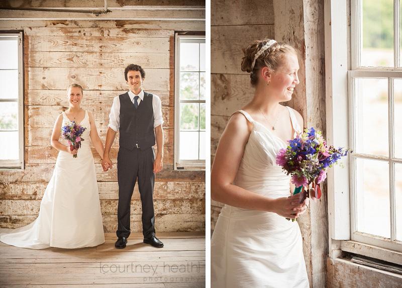 Bride and groom inside barn at Inn at Valley Farms