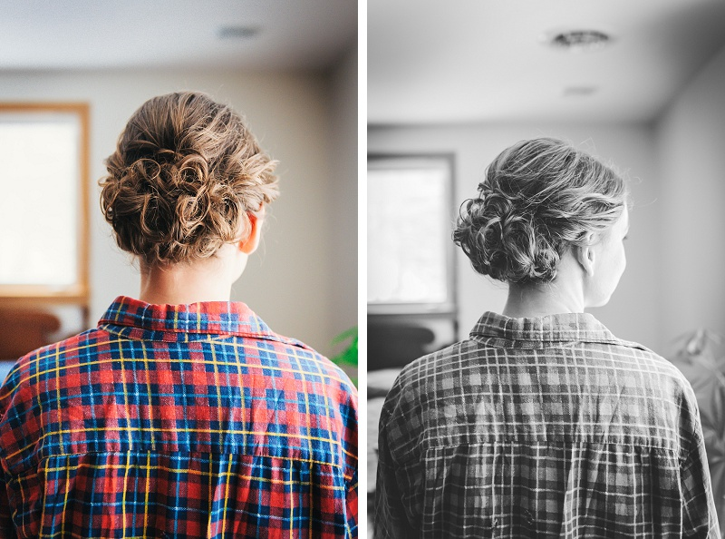Bride's beautiful wedding hair and a plaid shirt