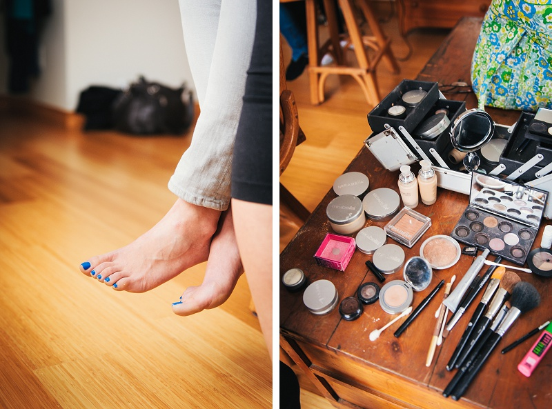 Blue toenails and wedding makeup