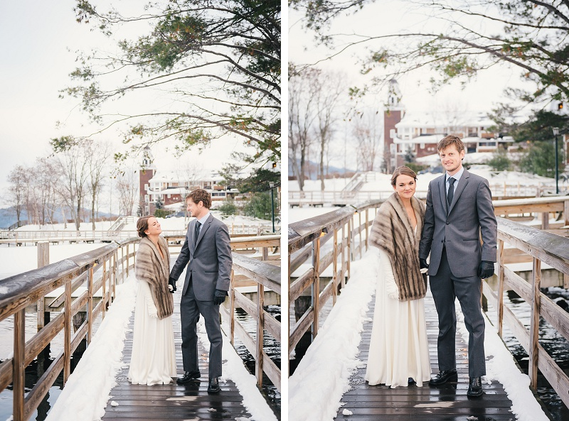 Bride and groom at Meredith Town Docks