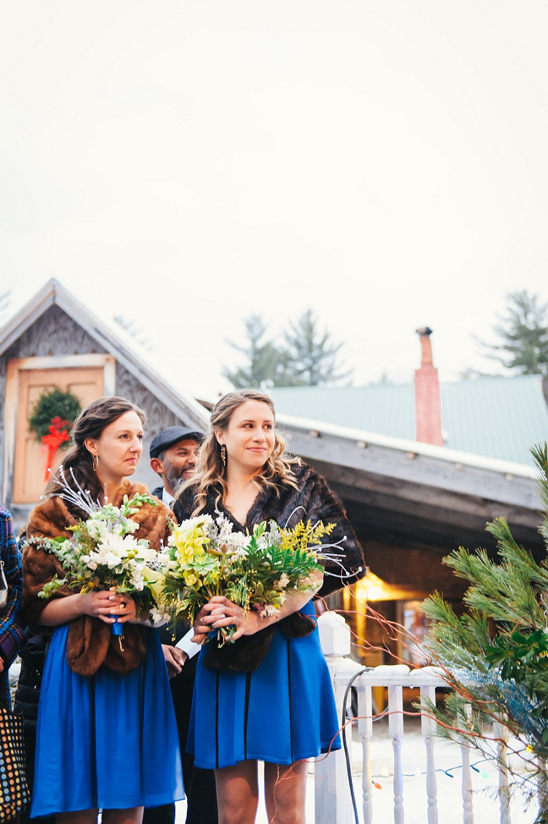 Bridesmaids during ceremony Meredith NH