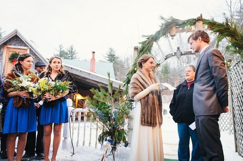 Winter wedding ceremony Meredith NH