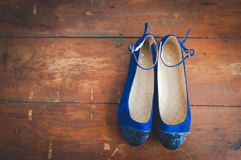 Blue glitter wedding shoes