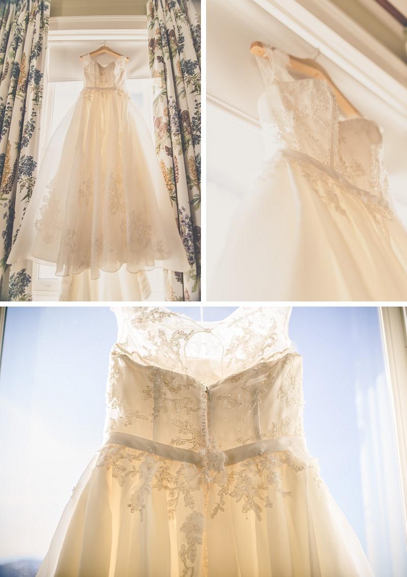 Wedding Dress hanging in window at Mount Washington Hotel