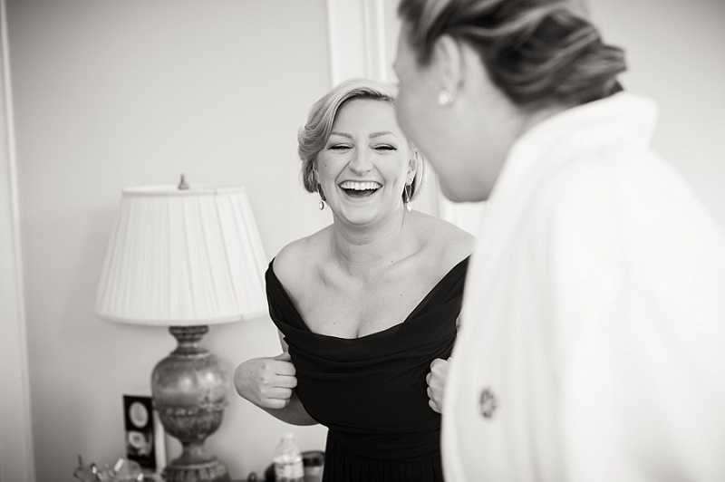 laughing bridesmaid black and white
