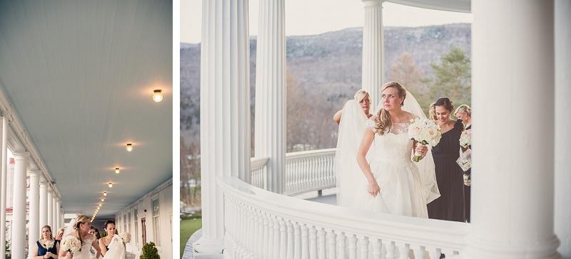 Bride and bridesmaids walking on porch at Mount Washington Hotel