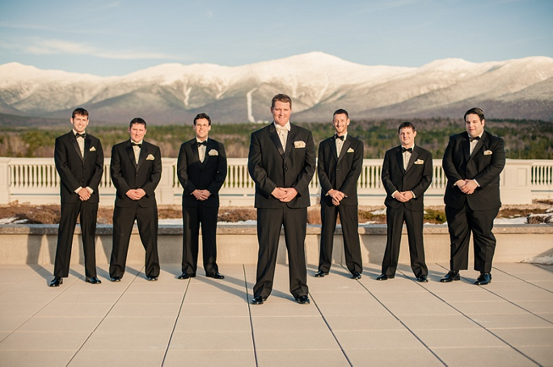 Groomsmen on the deck of the Mount Washington Hotel in Winter