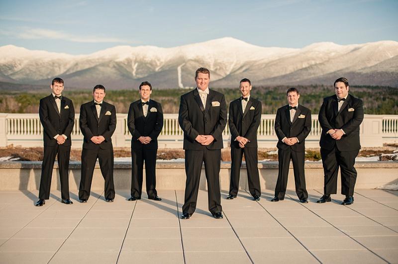 Groomsmen on the deck of the Mount Washington Hotel in Winter