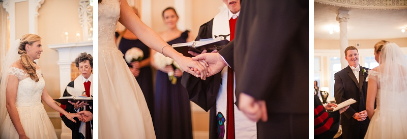 Bride and groom holding hands during wedding ceremony at Mount Washington Hotel