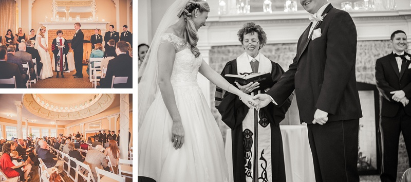 Winter wedding ceremony at Mount Washington Hotel