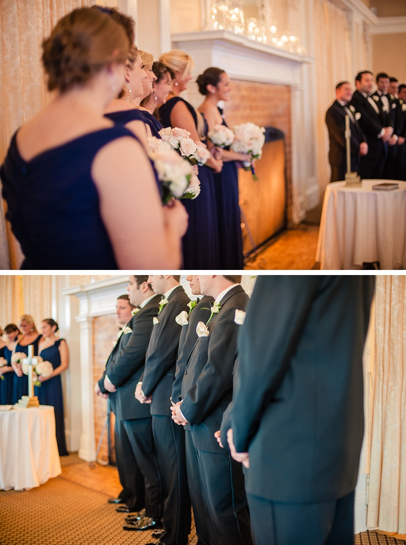 Bridesmaids and groomsmen during winter wedding ceremony at Mount Washington Hotel