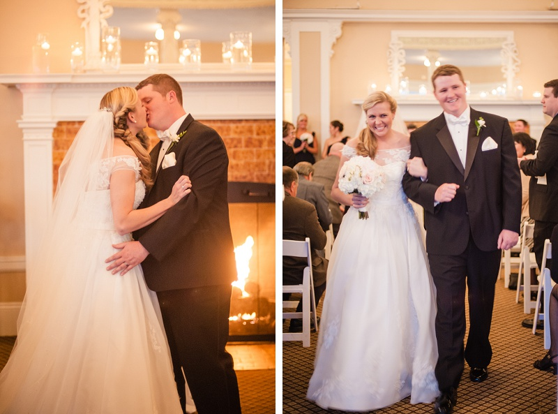 Bride and groom first kiss and exit winter wedding Mount Washington Hotel