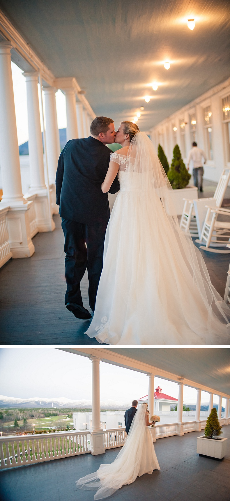 Bride and groom walking on the veranda of the Mount Washington Hotel in winter